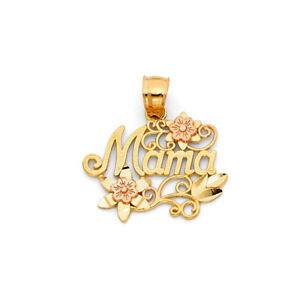 Real 14K Yellow Rose Gold MAMA Flower Rose Mother Day Medallion Charm Pendant