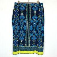 Jacqui E Womens Black Floral Straight Stretch Skirt Size 10 W30