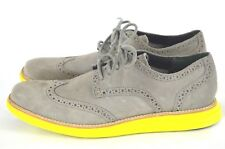 Cole Haan Lunagrand Men's Suede Leather Wingtip Oxford Shoes Size 8M Gray Yellow