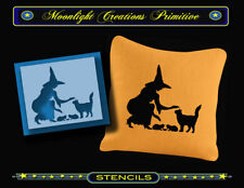 STENCIL~ HALLOWEEN KITTENS~Classic Vintage 1950s Style Black Cat Pretty Witch
