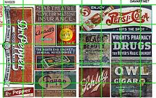 NH009 DAVE'S DECA 1/2 Set N SCALE GHOST SIGNS SODA GAS/OIL BEER DRY GOODS CIGARS
