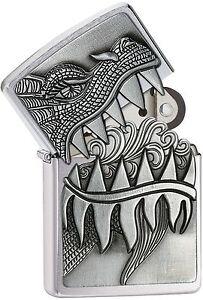 Zippo Windproof Fire Breathing Dragon Lighter, 28969, New In Velour Box