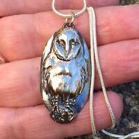 Silver Owl Necklace Bird Pendant 999 Silver Handmade Jewellery Oxidised Silver