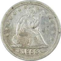 1853 Arrows Rays 25c Seated Liberty Silver Quarter XF EF Extremely Fine Details