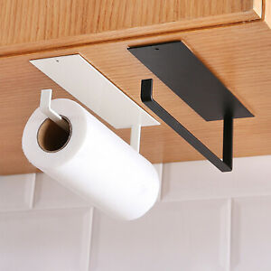 Kitchen Self-adhesive Roll Paper Holder Towel Cloth Storage Rack Tissue Hanger