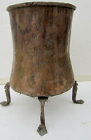 ANTIQUE ENGRAVED COPPER MIDDLE EAST PERSIAN FOOTED VESSEL w/ HANDLE