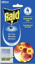 Raid Fly Trap Window Stickers 4 Pack Insecticide Traps Flies& Fruit Flies