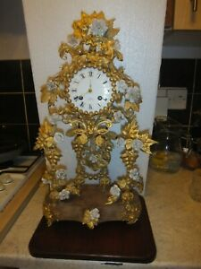 Blaouart A Boulogne s/m Very Ornate Gilt French Antique Clock with Flowers