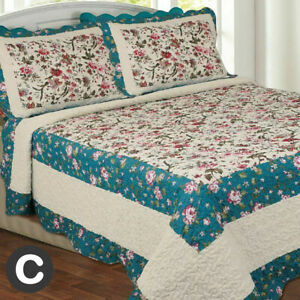 Luxury Double King Super Beige Teal Blue Floral Country Cottage Bedspread Quilt