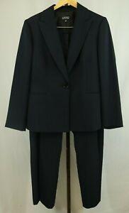 Kasper Womens Ladies Black Pinstripe 2 Piece Pants Suit Size 16