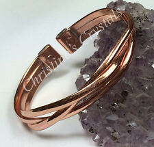 Magnetic Solid Copper Crossover Bracelet Bangle Pain Relief Arthritis ( M94 )