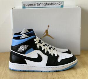 Nike Air Jordan 1 Mid University Blue White Black Sneakers Size UK 9