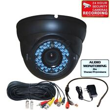 Security Camera CCD w/ Audio Cable Mic Outdoor IR LEDs Night 4-9mm Zoom Lens mif