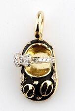 AARON BASHA 18K YELLOW GOLD DIAMOND BABY GIRL LADY BUG SHOE CHARM PENDANT