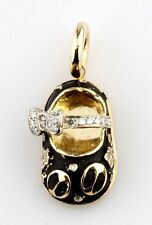 Aaron Basha 18ct Oro Amarillo Diamante Bebé Mariquita ZAPATO COLGANTE CHARM