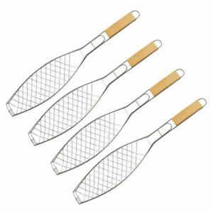 4x Fischgriller Fischbräter Grill Fischzange BBQ Metall Grillzange mit Holzgriff