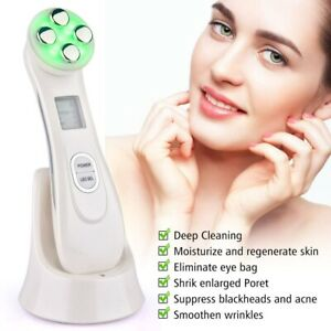 RF Skin Beauty Instrument Ultrasonic Face Massager Anti-aging Wrinkl 5-in-1 LED