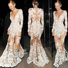 Mermaid Clubwear Abendkleid Partykleid Ballkleid Spitze Kleid weiß Langarm BC506