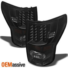 Fits 07-13 Toyota Tundra Pickup Truck Black LED Tail Lights Pair Replacement