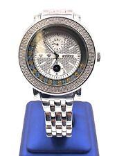 Freeze Men's Stainless Steel White Diamond Color Floating Diamonds Watch FZ9445
