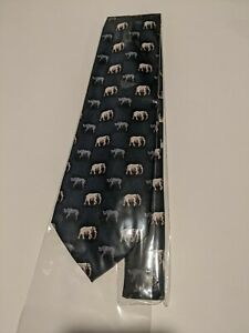 "Parquet Elephant & Rhino Tie Ivory blue tie 3.75""hand made 100% Polyester"