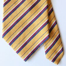 ESSENTIAL Jos A Bank Yellow Red Blue White Stripe Tie 100% Silk Made in Italy
