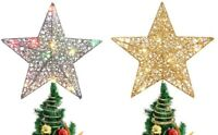 Christmas Tree Topper Star Colorful Light With Glitter For Xmas Party Decoration