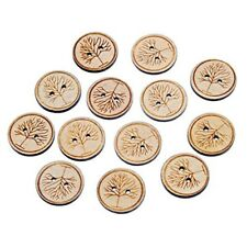 50 Large 25mm Natural Smooth Wood Tree of Life Buttons, Crafts, Sewing