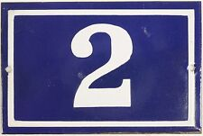 Old blue French house number 2 door gate plate plaque enamel metal sign steel
