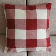 "Red Black Checked Plaid Decor Throw Pillow Case Square Cushion Cover 45cm 18"""