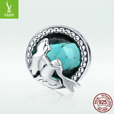 High Quality 925 Sterling Silver Bead Mermaid Charm Crystal For Bracelet Jewelry