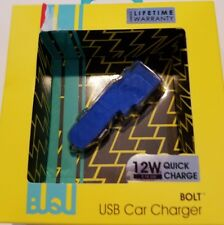BeUnique Brand Blue Bolt Usb Car Charger 12W Quick Charge