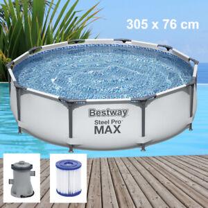 Bestway Steel Pro MAX Pool Set Ø305x76 cm mit Filterpumpe Gartenpool 56408