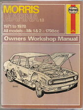 Morris Marina 1.8 1971-1978 All Mk 1 & 2 1798cc Haynes Owners Workshop Manual