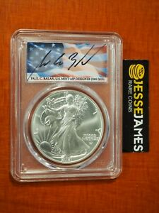 2021 SILVER EAGLE PCGS MS70 FLAG PAUL BALAN SIGNED FIRST DAY OF ISSUE FDI TYPE 2