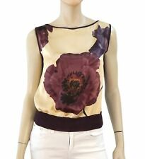 EMANUEL UNGARO Paneled Floral Silk and Purple Knit Sleeveless Top Blouse Vest S