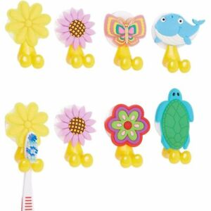 Silicone Toothbrush Holder with Suction Cup for Kids (6 Designs, 8 Pack)