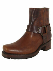 $558 Frye Womens Heirloom Harness Back Zip Up Square Toe Boots, Cognac, US 9