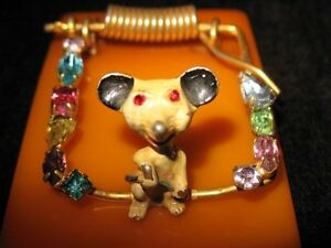 Bakelite Paperweight Clip Jeweled Rhinestones  Mouse Trap Very Unusual RARE