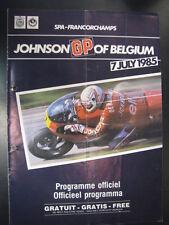 Programmaboekje Johnson GP of Belgium Spa-Francorchamps 7 July 1985