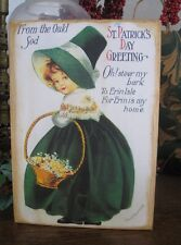 Primitive Sign St Patrick's Day Greeting Vintage Postcard Reproduction on Wood