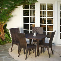 Outdoor Patio Furniture 5pcs Brown All-weather Wicker Dining Set