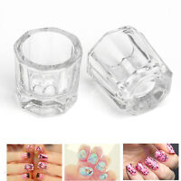 Glass 2x Dappen Dish / Crystal Octogonal Cup Pot Acrylic Nail Art Liquid Powder*