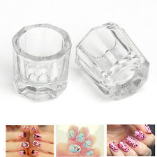 2x Glass Dappen Dish/Crystal Octogonal Cup Pot Acrylic Nail Art Liquid Manicure