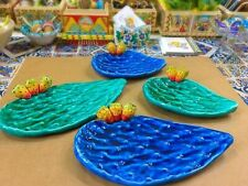 Pala di fico d'india ceramica siciliana, verde o blu cobalto, anche uso alimenti
