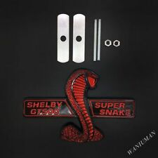 Ford Mustang Cobra Snake GT500 GRILL BADGE Shelby Metal Front Emblem Chrome RED