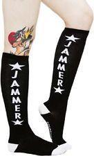 """78540 Black & White """"Jammer"""" 17"""" Knee High Socks Sourpuss Roller Derby Stars NEW"""