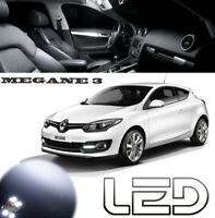 MEGANE 3 III pack 16 ampoules LED Blanc Veilleuses Plaque Habitacle Plafonnier