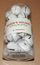 "Christmas Metal Bells Ornaments 30 Total 1"" Round White Makers Holiday 107I"