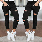 Women Girl Ripped Destroyed Skinny Pencil Pants Jeggings Casual Stretch Trousers
